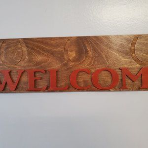 Handmade Welcome Sign with Horseshoes